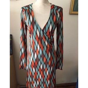 Esprit Long Sleeve Wrap Dress Sz S